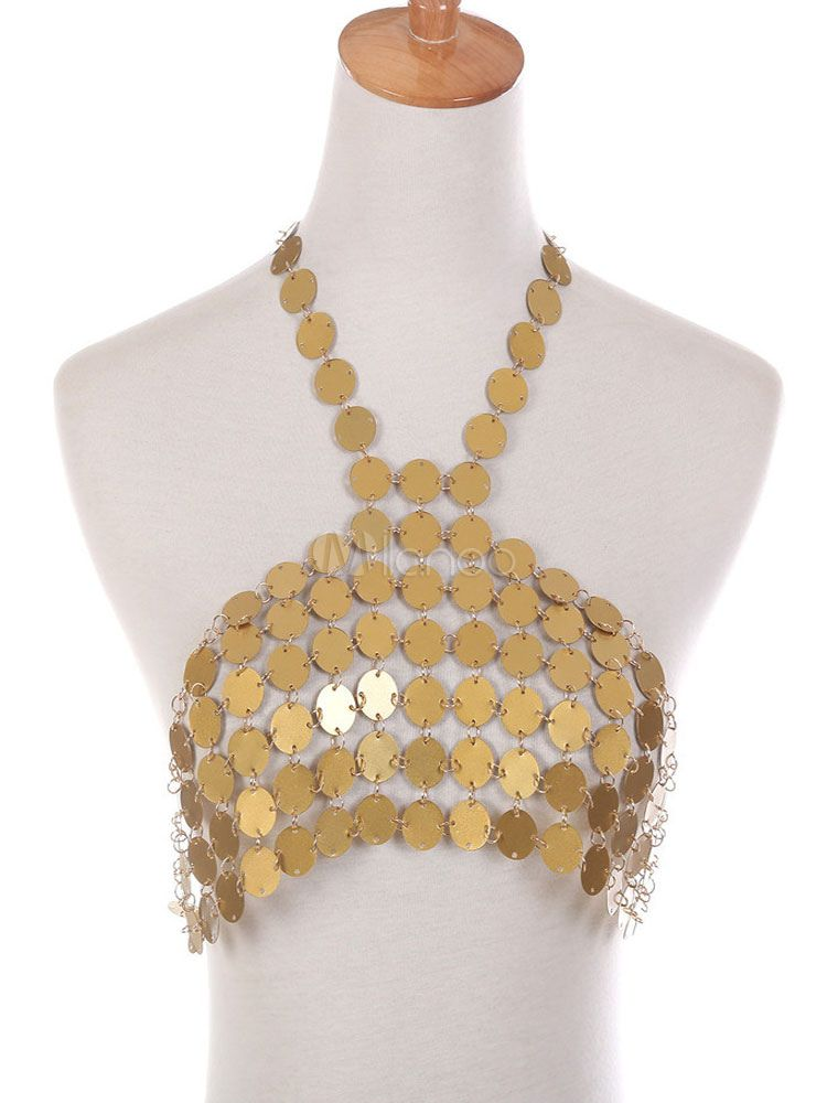 ed63d6d227c4b Gold Body Chain Bralette Sexy Sequins Halter Alloy Body Jewelry  Chain