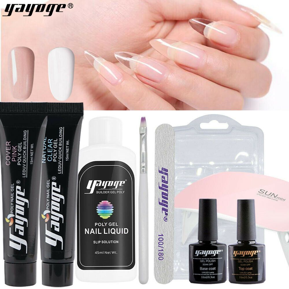 15ml Mini Polygel Kit Nail Extension Set Uv Gel 6w Mini Lamp Us Shipping Nail Extensions Hard Gel Nails Manicure And Pedicure