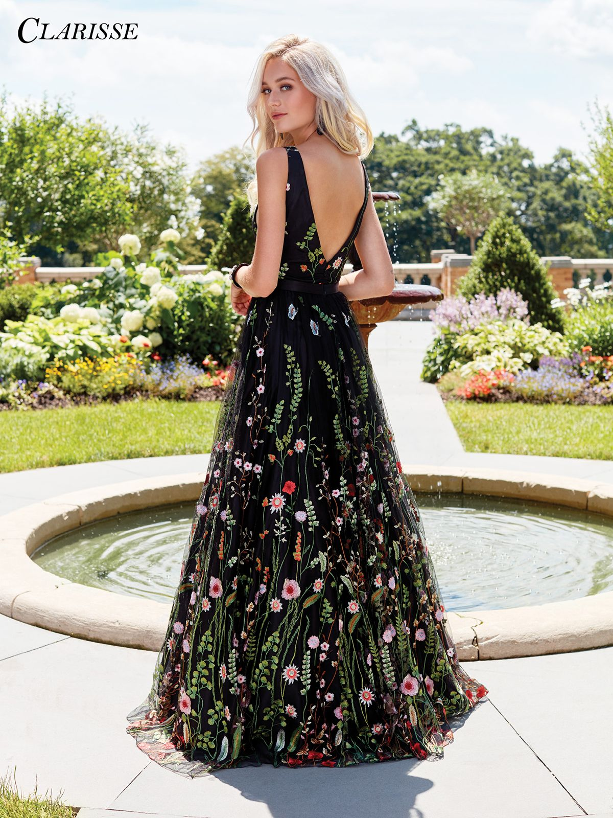 Black floral embroidered prom dress in prom inspiration