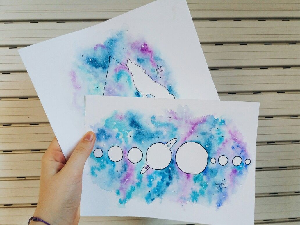 Galaxy watercolors