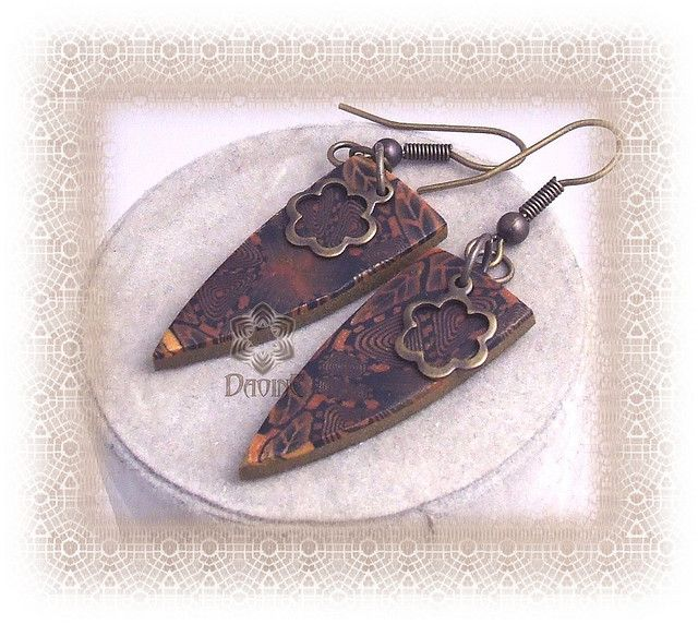 Pendientes murrina caleidoscopio negro y oro | Flickr - Photo Sharing!
