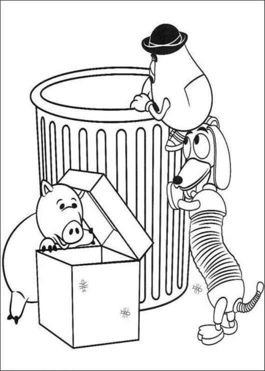 Slinky Dog Take Out The Trash Coloring Pages For Kids Printable Toy Story