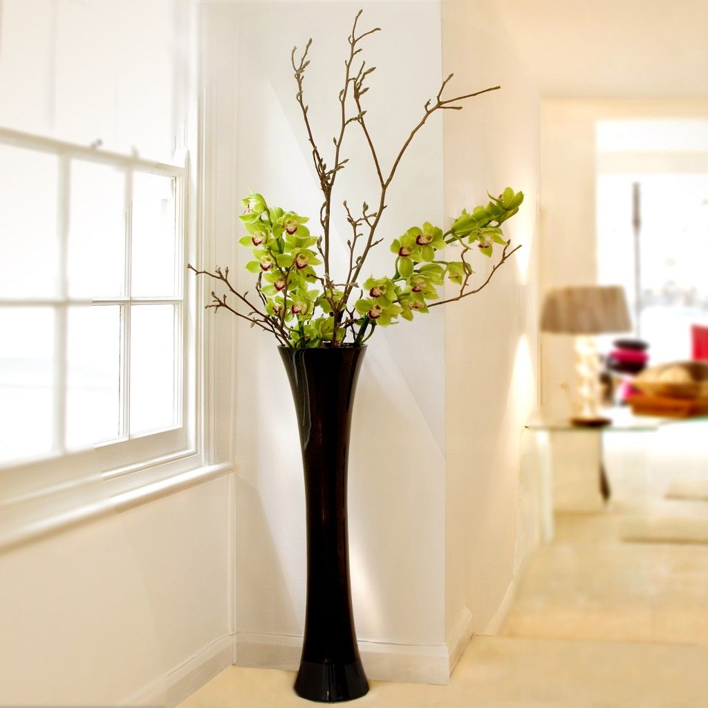 floor vases black vase decorative vases green plants hallway ideas