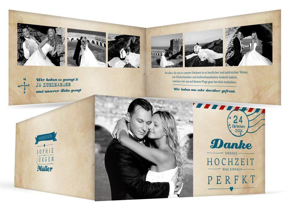 Danksagungskarten mit Bildern zu den Hochzeitseinladungen