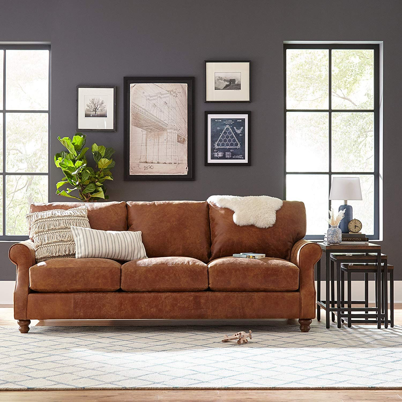 Stone Beam Charles Clic Oversized Leather Sofa 92 W