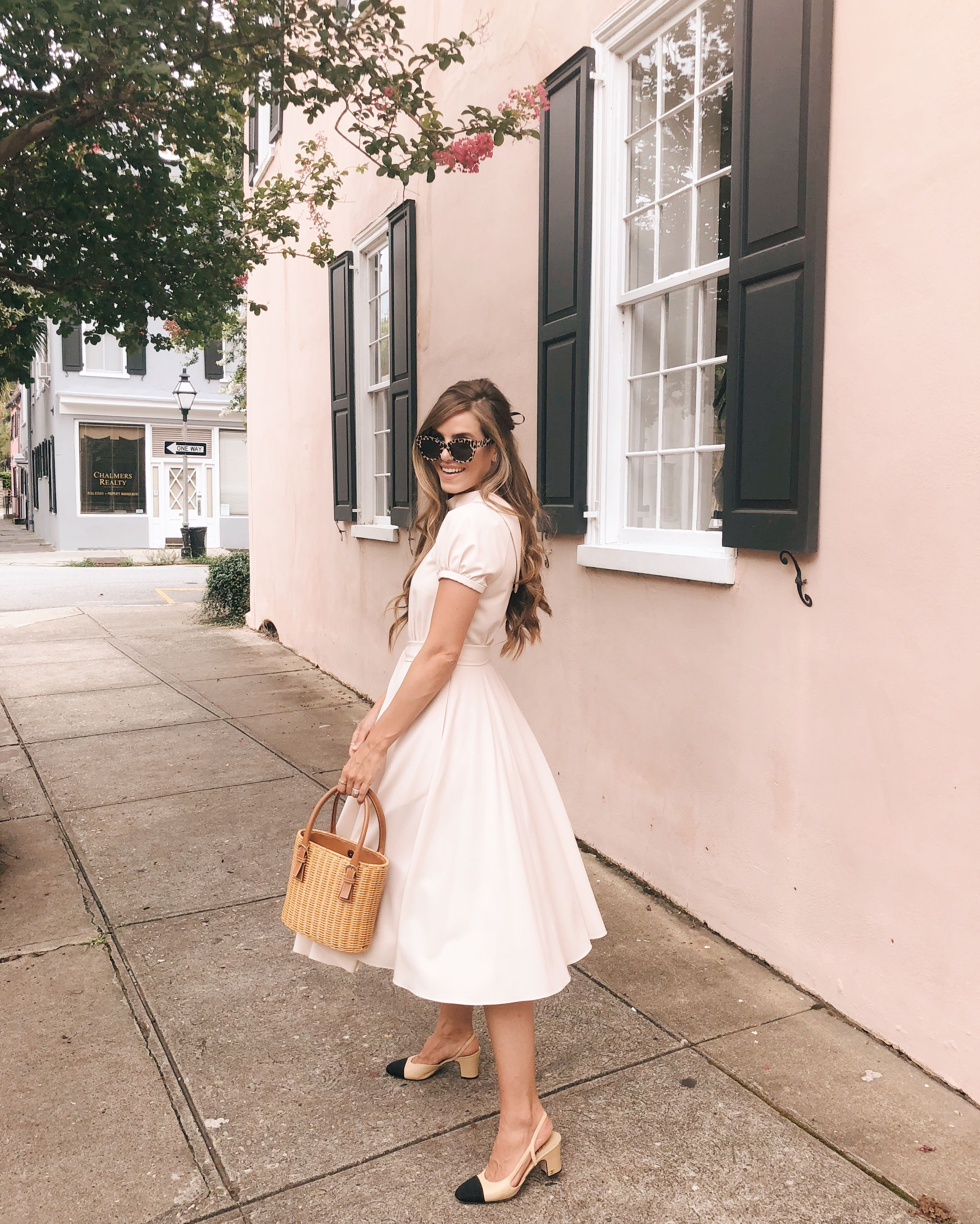 58a082f779e8 Daily Look 7.9.18 featuring Julia wearing a Gal Meets Glam Collection  Eleanor dress with Chanel heels, a vintage Ferragamo basket bag, and kate  spade New ...