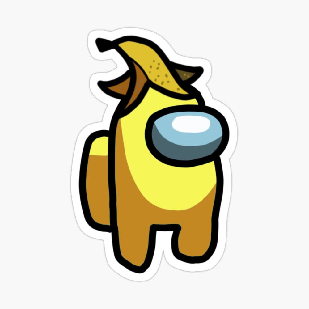 'Yellow with banana hat among us' Sticker by emtur