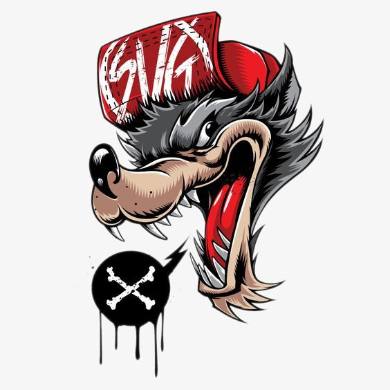 Cartoon Wolf Avatar Hand Painted Cartoon Wolf Head Portrait Png And Vector With Transparent Background For Free Download Cartoon Wolf Graffiti Graffiti Art