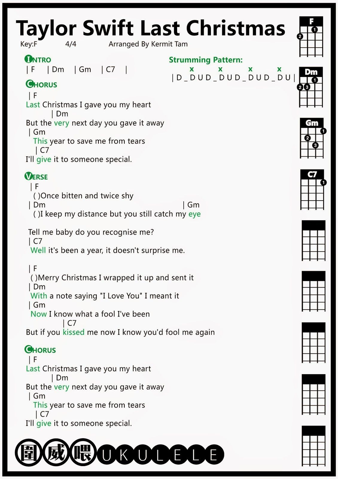 Ŝå¨å–' Ukulele Taylor Swift Last Christmas Ukulele譜 Ukelele Chords Ukulele Songs Ukulele Songs Beginner Ukulele Songs