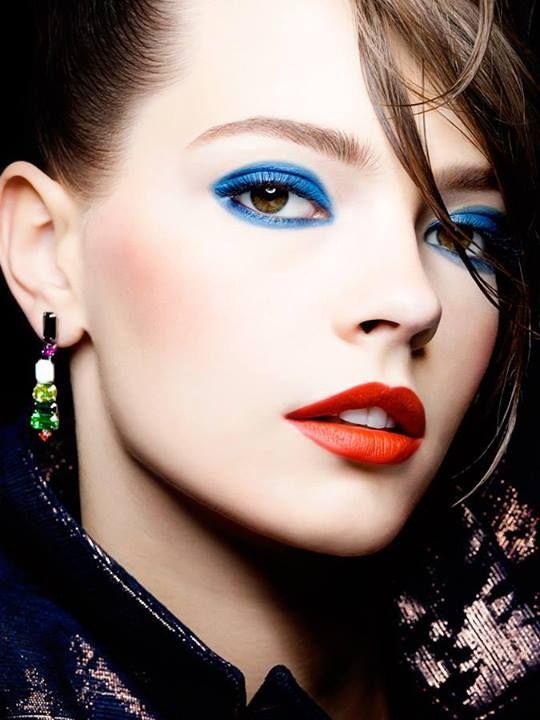 Cobalt Blue Eye Makeup Orange Red Lipstick Allure Russia