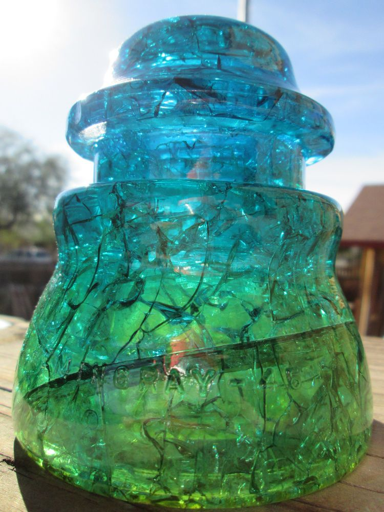 Crackled Hemingray 45 Blue Green Yellow Glass Insulator Stained / Colored CD 154