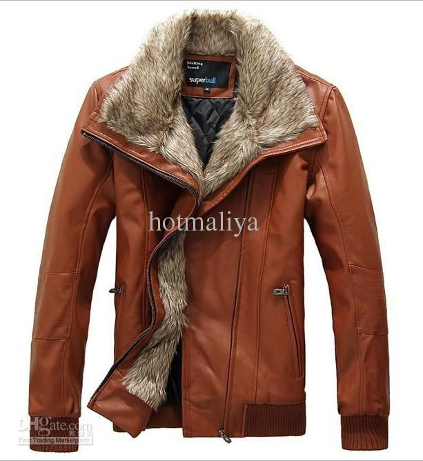 Men's fashion pilot fur thickening cashmere leather jacket motorcycle jacket coat 3 color.