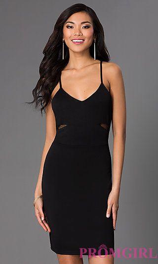 Short Spaghetti Strap Black Dress At Promgirl Homecoming
