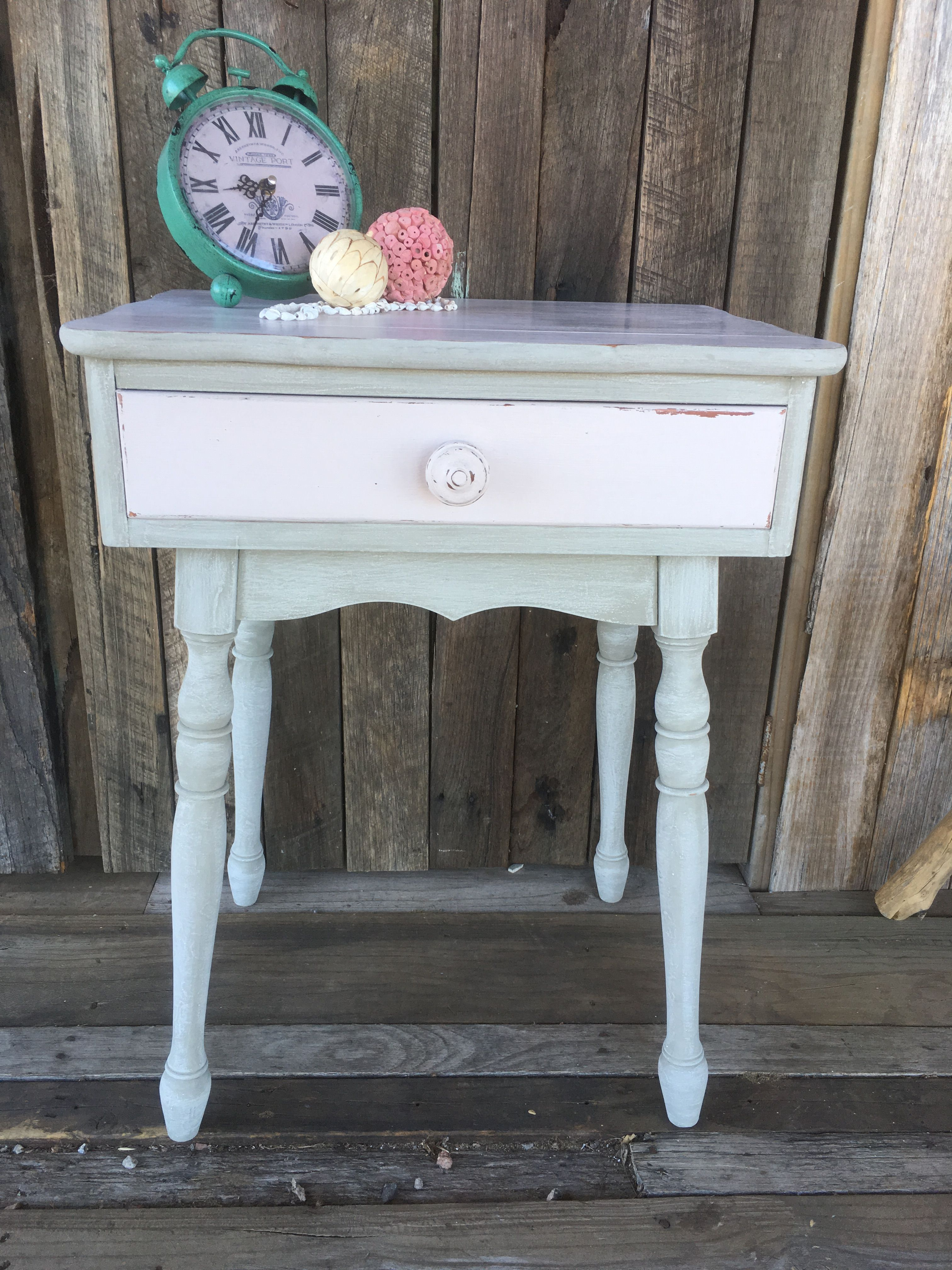 Pink Bedside Table: Shabby Chic Mint Grey And Pale Pink Bedside Table. More