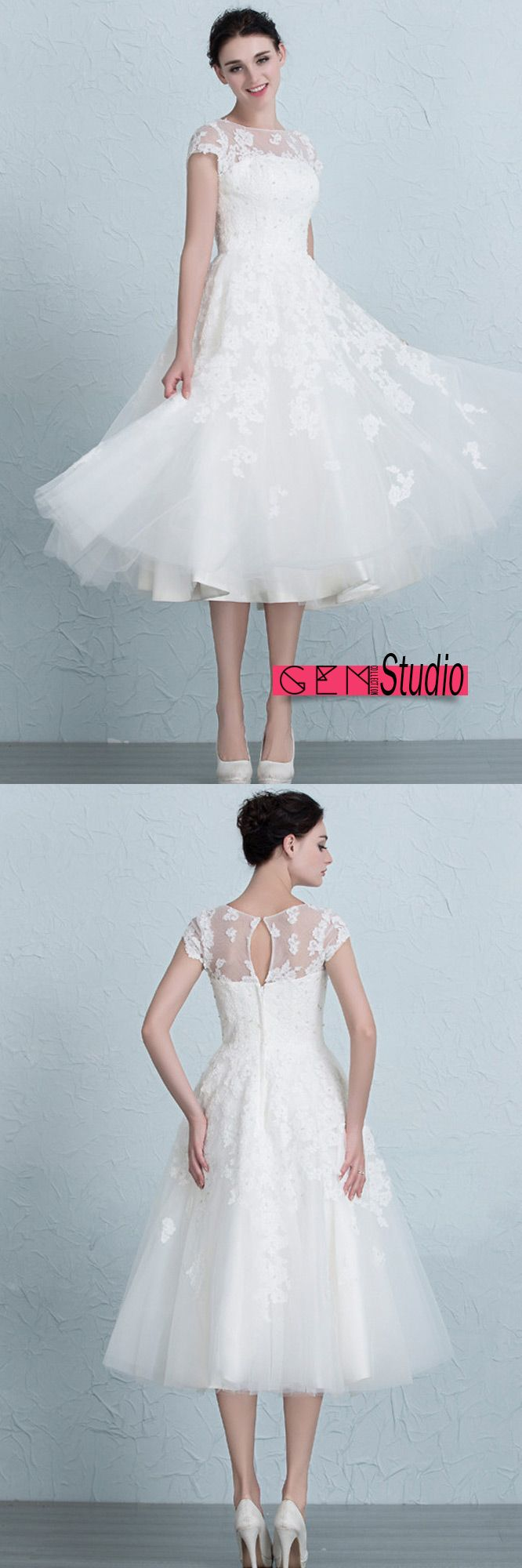 Vintage Tea Length Wedding Dresses Empire Waist Lace Tulle A-Line ...