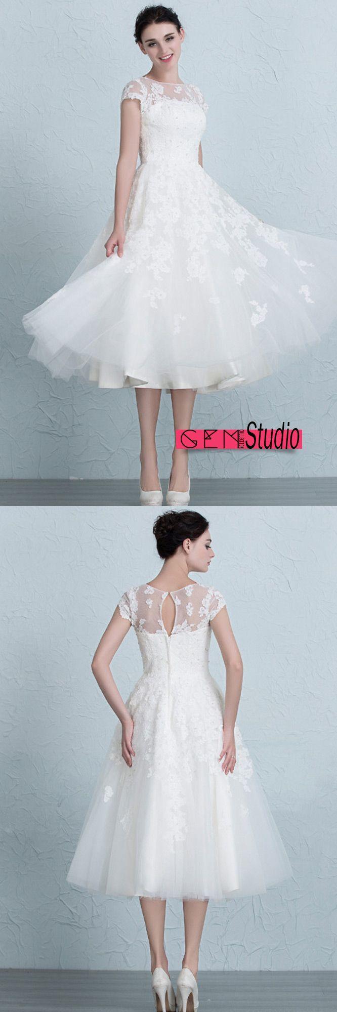 Vintage tea length wedding dresses empire waist lace tulle aline