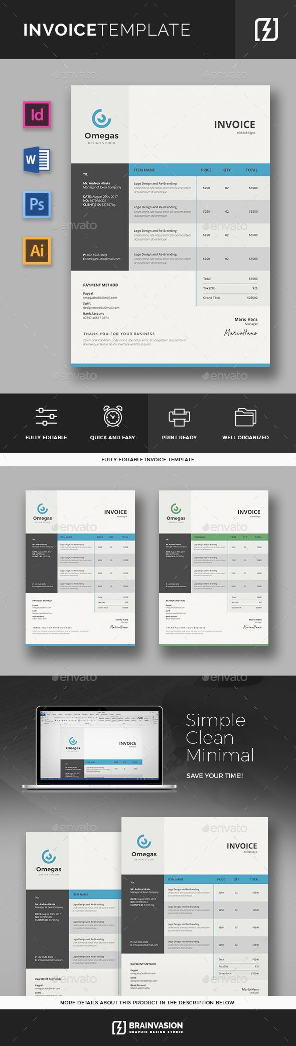 Invoice Template Template Ai Illustrator And Graphic Design - Invoice template illustrator