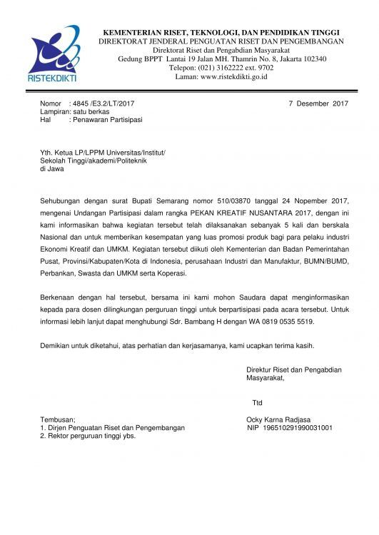 contoh surat penawaran partisipasi pl jurnal hotel