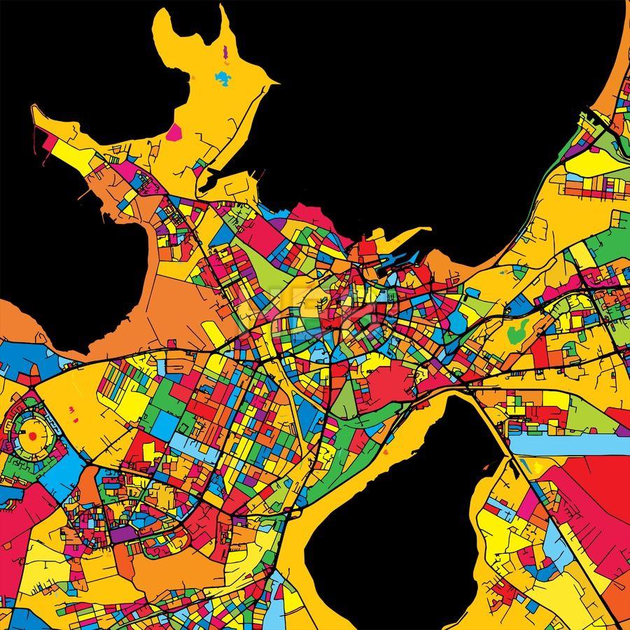 Tallinn Estonia Colorful Map - Estonia map download