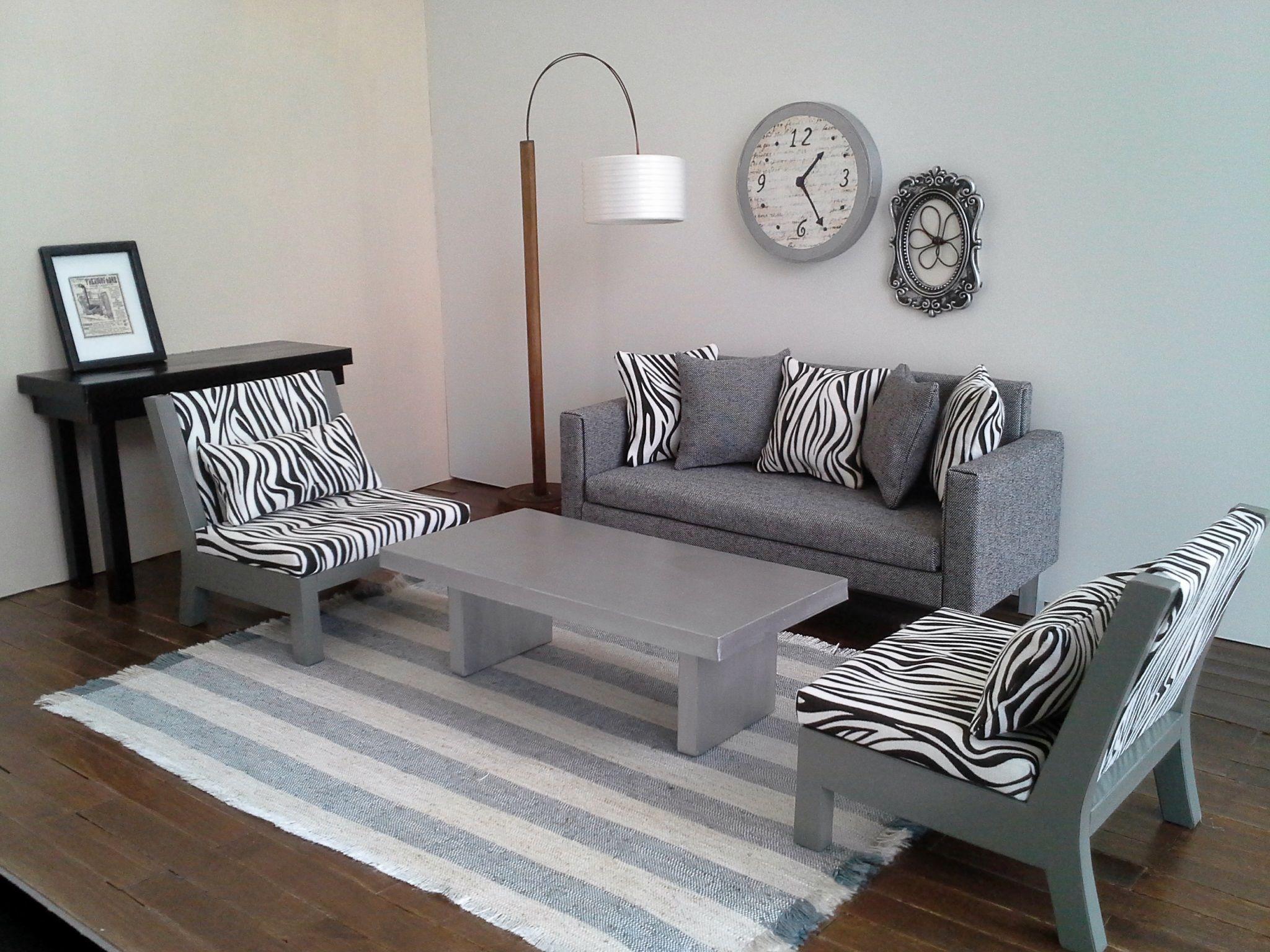 doll furniture in zebra print and grey romus designs