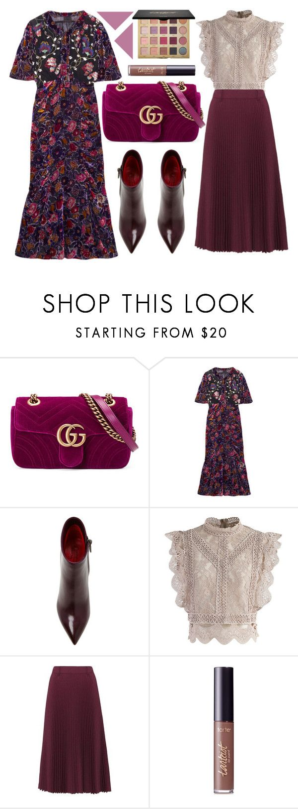 """""""Fuchsia"""" by cherieaustin ❤ liked on Polyvore featuring Gucci, Anna Sui, Santoni, Chicwish, Prada and tarte"""