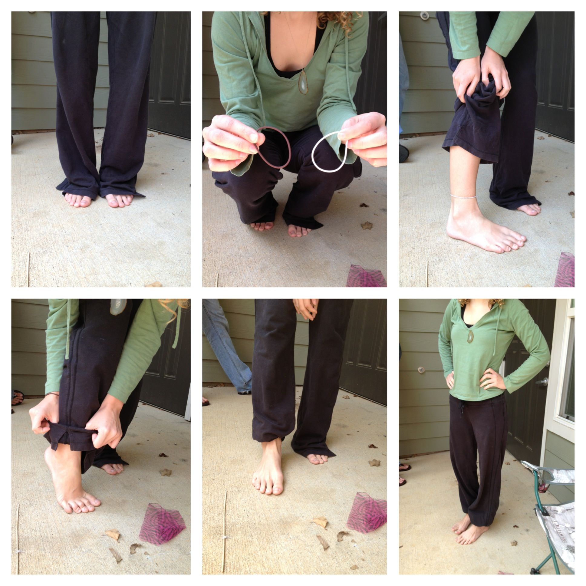 How To Hem Pants With A Cuff Sweat Pants Too Long Tuck Your Pants Under A Hair Tie Or A Rubber Band For A Quick Fix Short Girl Fashion Clothing Hacks Comfy Airport Outfit