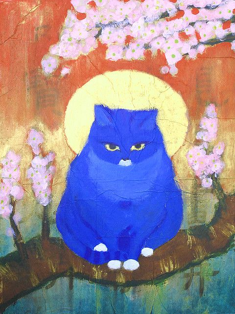 Cat Finger Painting : finger, painting, Blue,, Mixed, Media, Canvas,, COLLECTED, Illustration,, Illustration