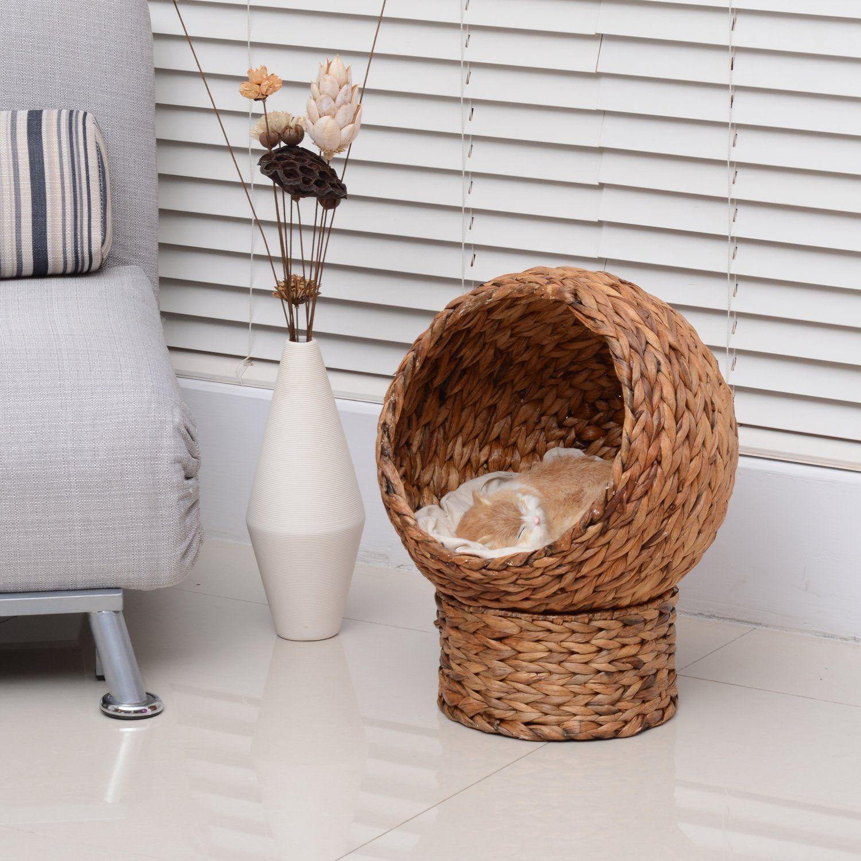 Amazon Com Pawhut 24 Banana Leaf Condo Pod Elevated Cat Bed  # Muebles Hoja De Platano