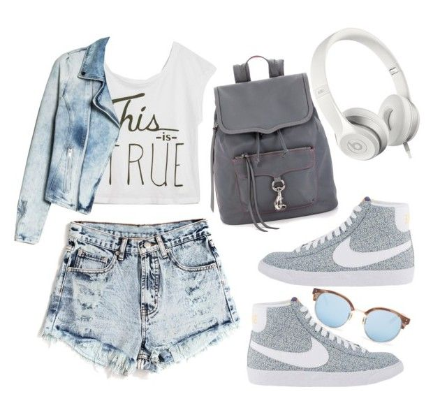 """ready to go"" by frenzy-n ❤ liked on Polyvore featuring moda, True Religion, MANGO, NIKE, Rebecca Minkoff, Beats by Dr. Dre y Linda Farrow"