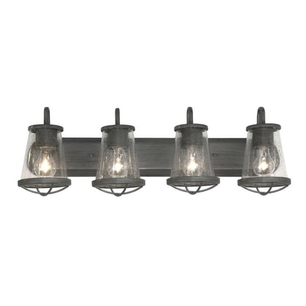 Home Decorators Collection Georgina 4 Light Weathered Iron Vanity Light Hb2584 322 The Home Depot In 2020 Vanity Lighting Glass Shades Vanity Light Fixtures