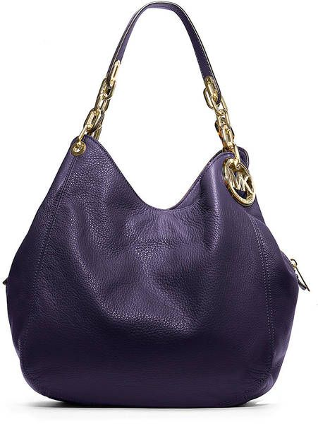 Michael By Michael Kors Fulton Leather Shoulder Bag in Purple (iris) - Lyst