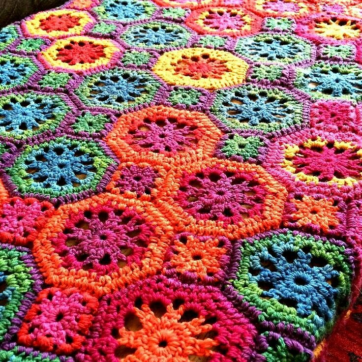 Pin von Margarita Corchado auf Hexagon Crochet Blanket sh | Pinterest