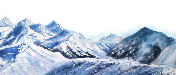 Watercolor Mountains Stock Photos Royalty Free Images Vectors Video Snow Peak Watercolor Mountains Blue Tones