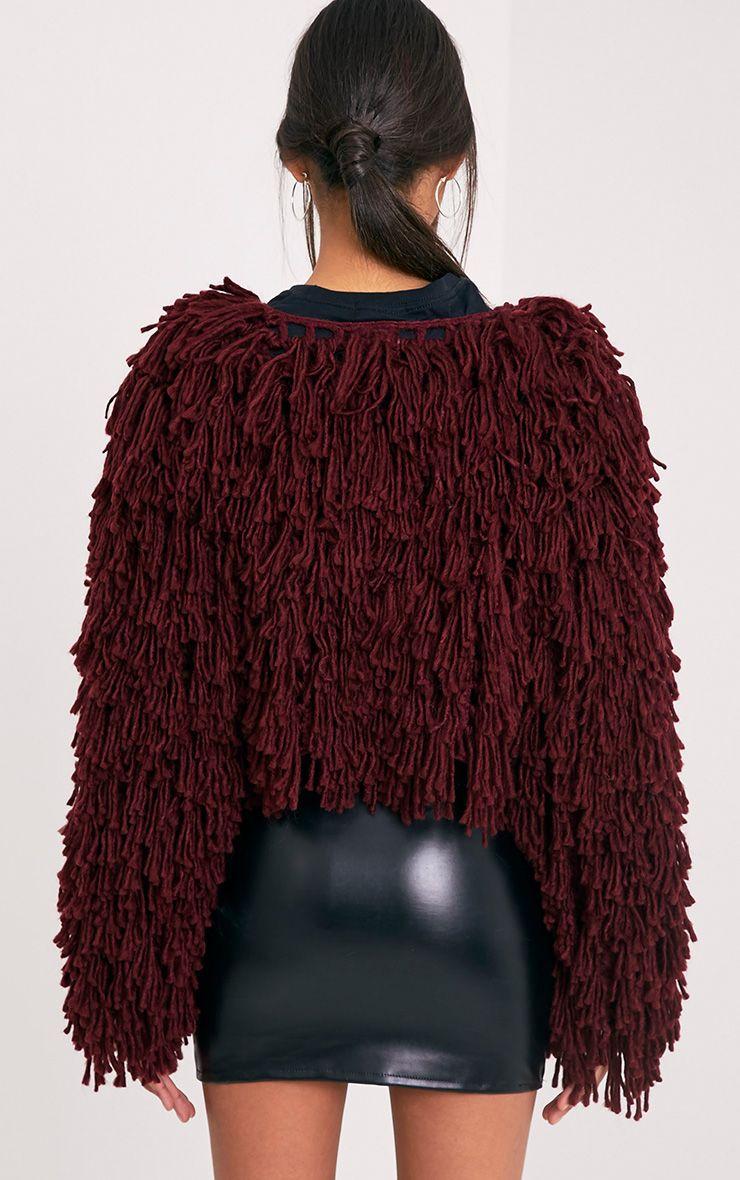 4f5727d4202426 Shainina Burgundy Shaggy Knit Cropped Cardigan Image 2
