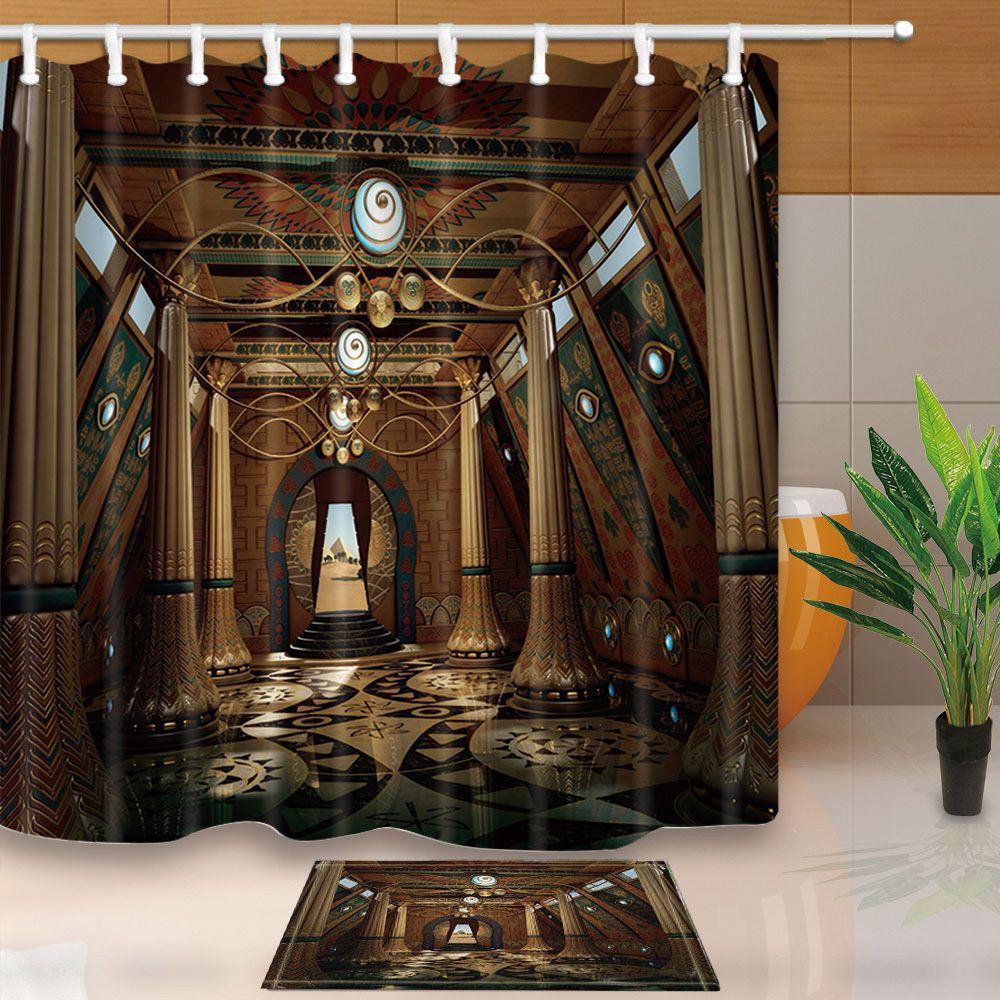 Egyptian Temple Bathroom Decor Shower Curtain Waterproof Fabric W