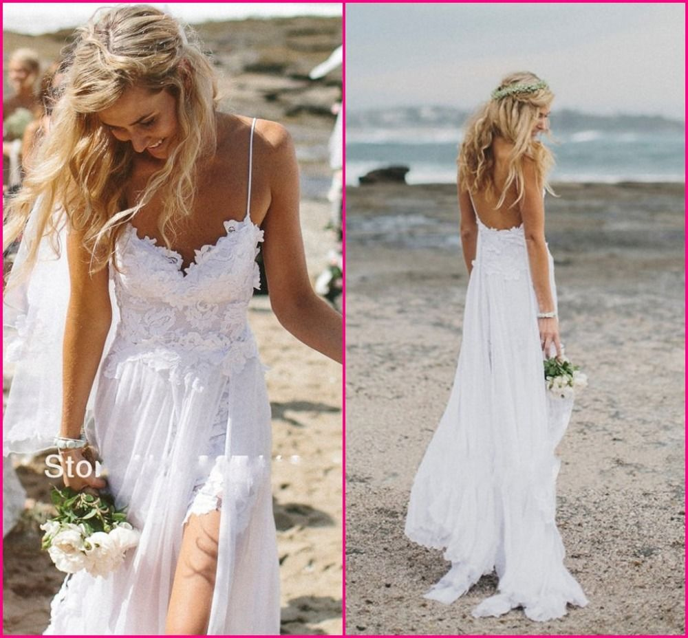 stunning vintage boho white beach low back wedding dresses gowns chiffon dreamy spaghtti straps slit short
