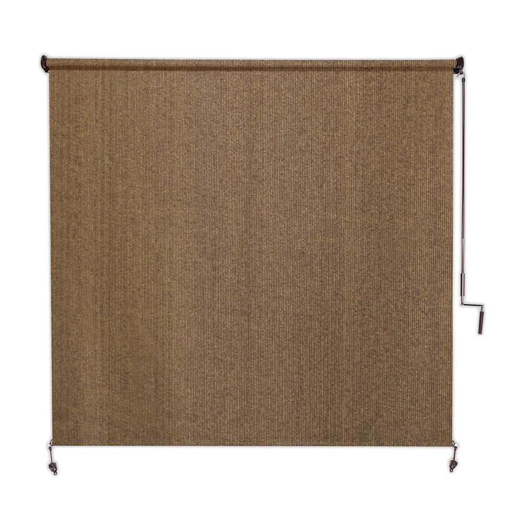 Coolaroo Walnut Cordless Light Filtering Fade Resistant Fabric Exterior Roller Shade 120 In W X 96 In L 460082 In 2019 Roller Shades Outdoor Curtains For Patio Coolaroo Shades