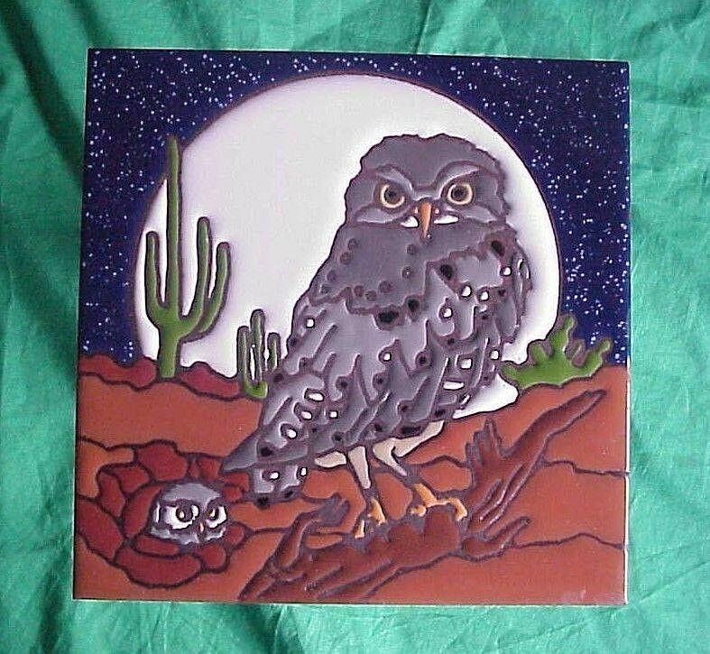 Southwest Desert Owl Full Moon Saguaro Cactus Tucson 6 X 6 Ceramic Tile Trivet Saguaro Cactus Tile Art Desert Owl