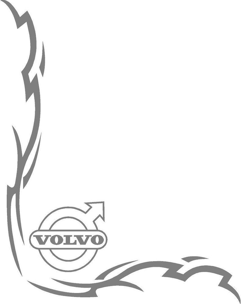 Volvo truck tribal style cab side window stickers pair