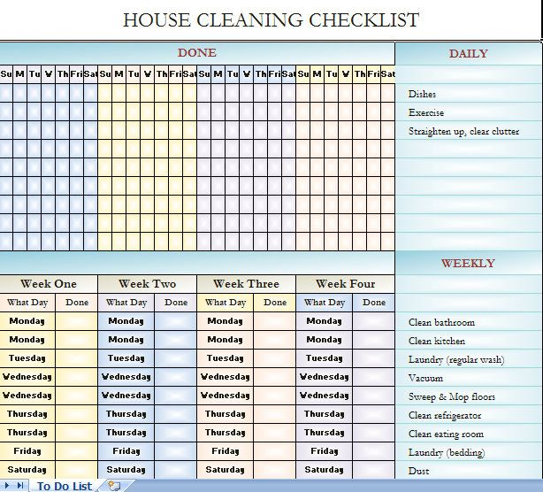 House Cleaning Checklist  ItS In Excel So You Can Change It To