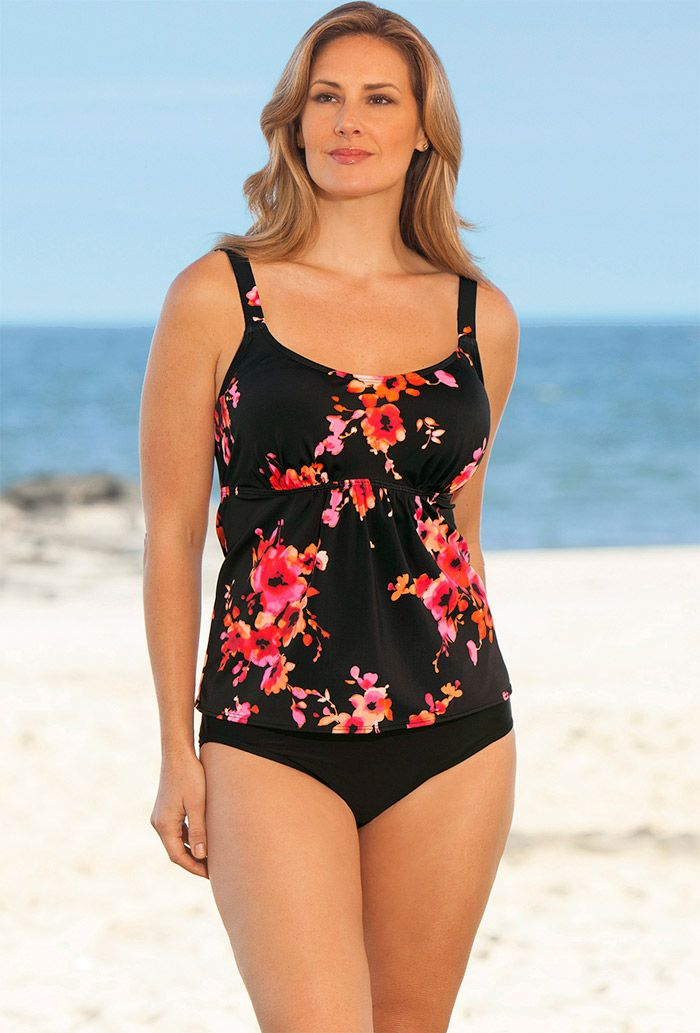 10a2020c0d019 Beach Belle Orange Poppies Plus Size Flared Tankini - swimsuitsforall