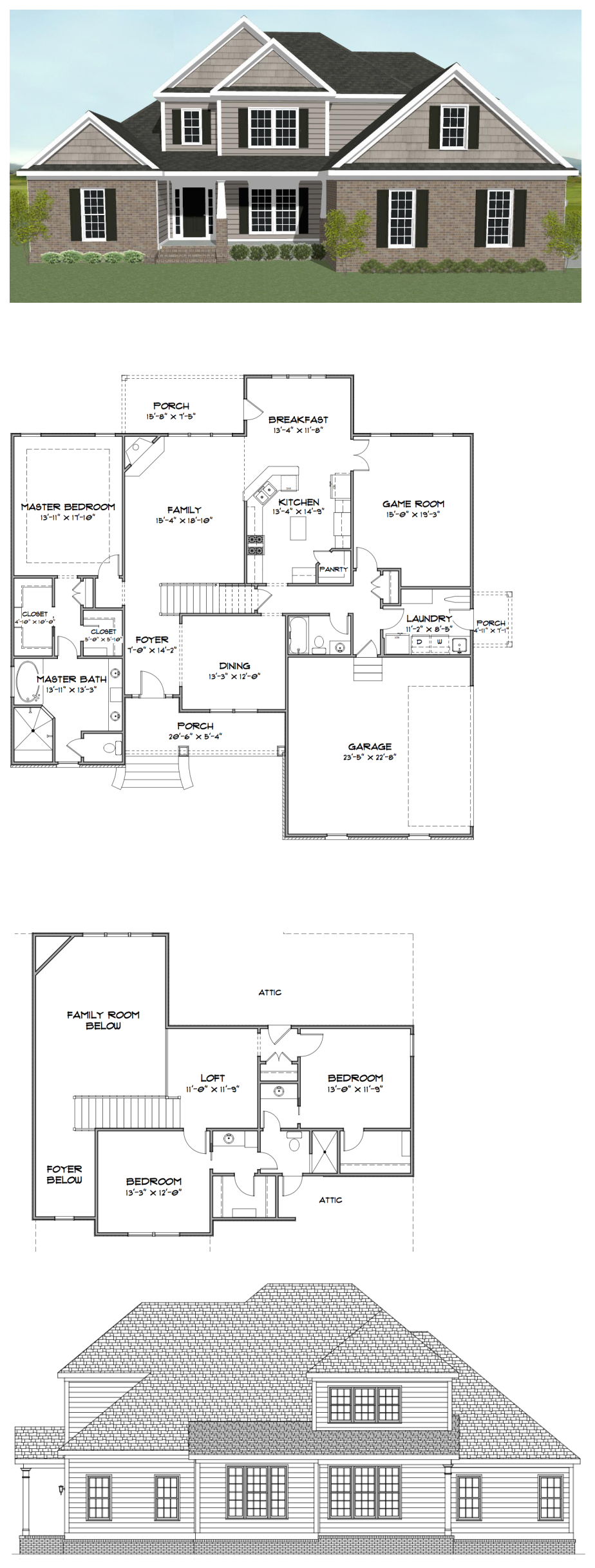 Plan SC2847: ($940) 3 bedroom 3 bath home with a game room (which ...
