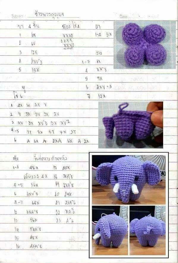 พวงกุญแจช้าง   ตุ๊กตาโครเชต์   Pinterest   Elefantes, Patrones ...