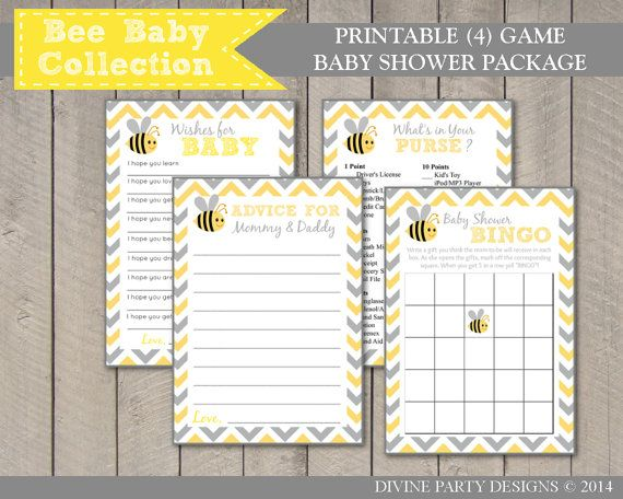 INSTANT DOWNLOAD Bumble Bee Baby Shower Game Package By DivinePartyDesign Includes 4 Printable