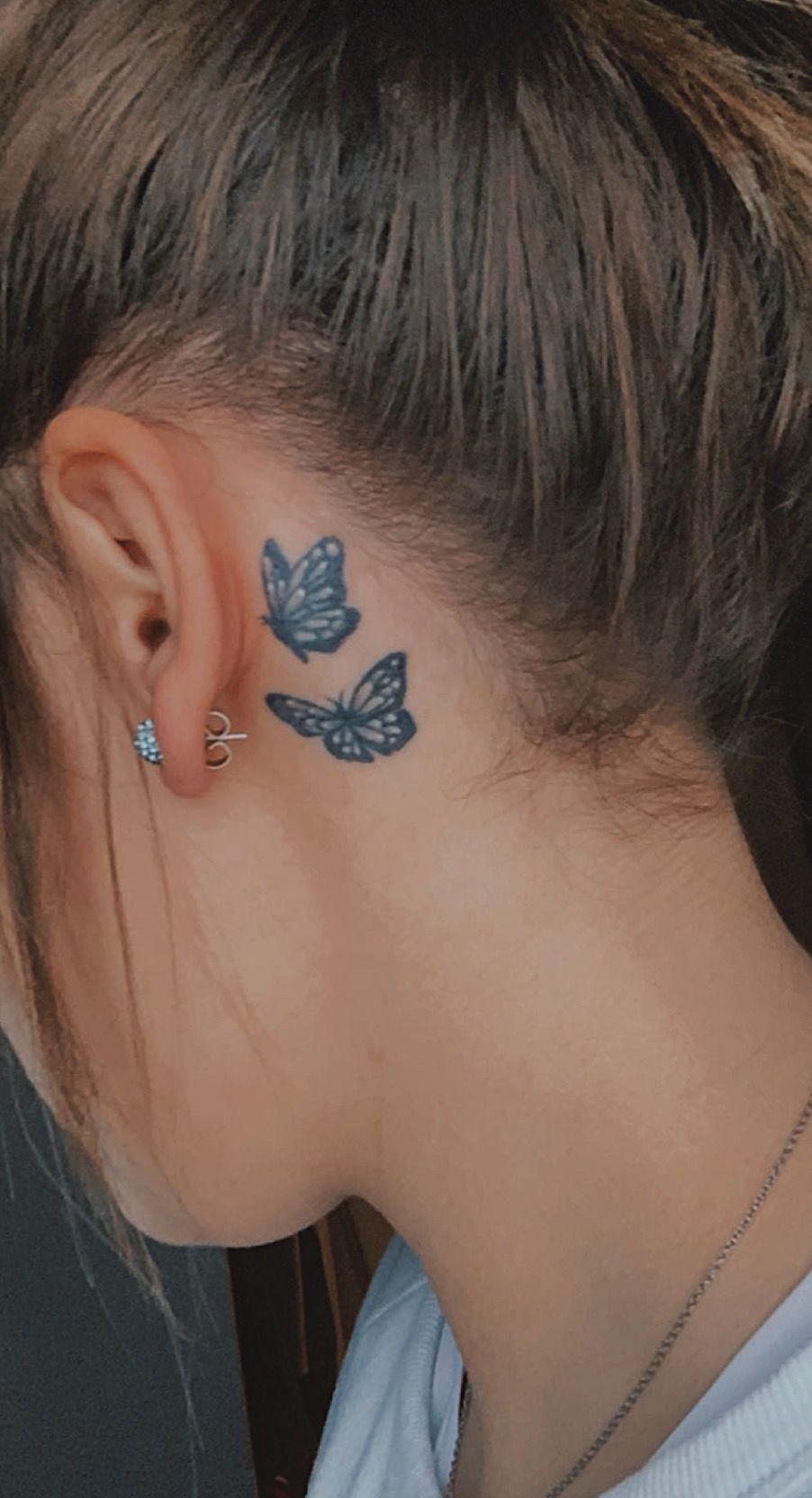 behind the ear, small tattoo, butterfly, black&white