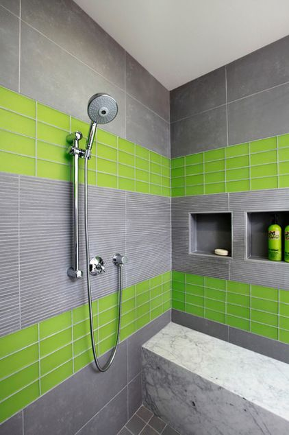 Love The Layout And The Grey But The Green Is Just Too Much Contemporary Bathroom By Trg Architects Green Bathroom Lime Green Bathrooms Green Bathroom Colors