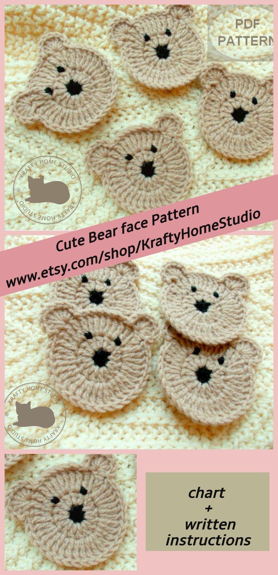 Easy Crochet Pattern, Teddy Bear Pattern appliques DIY applique animal kids craft beginners project Crochet Bear face, Instant Download 5006