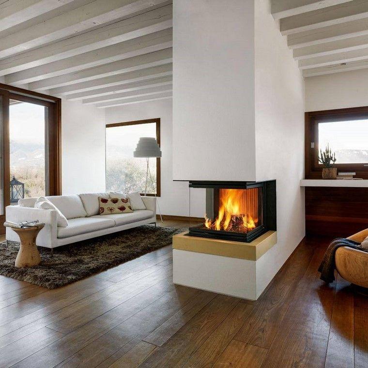 chimeneas modernas pared sofa blanca salon ideas Interiores con - chimeneas modernas