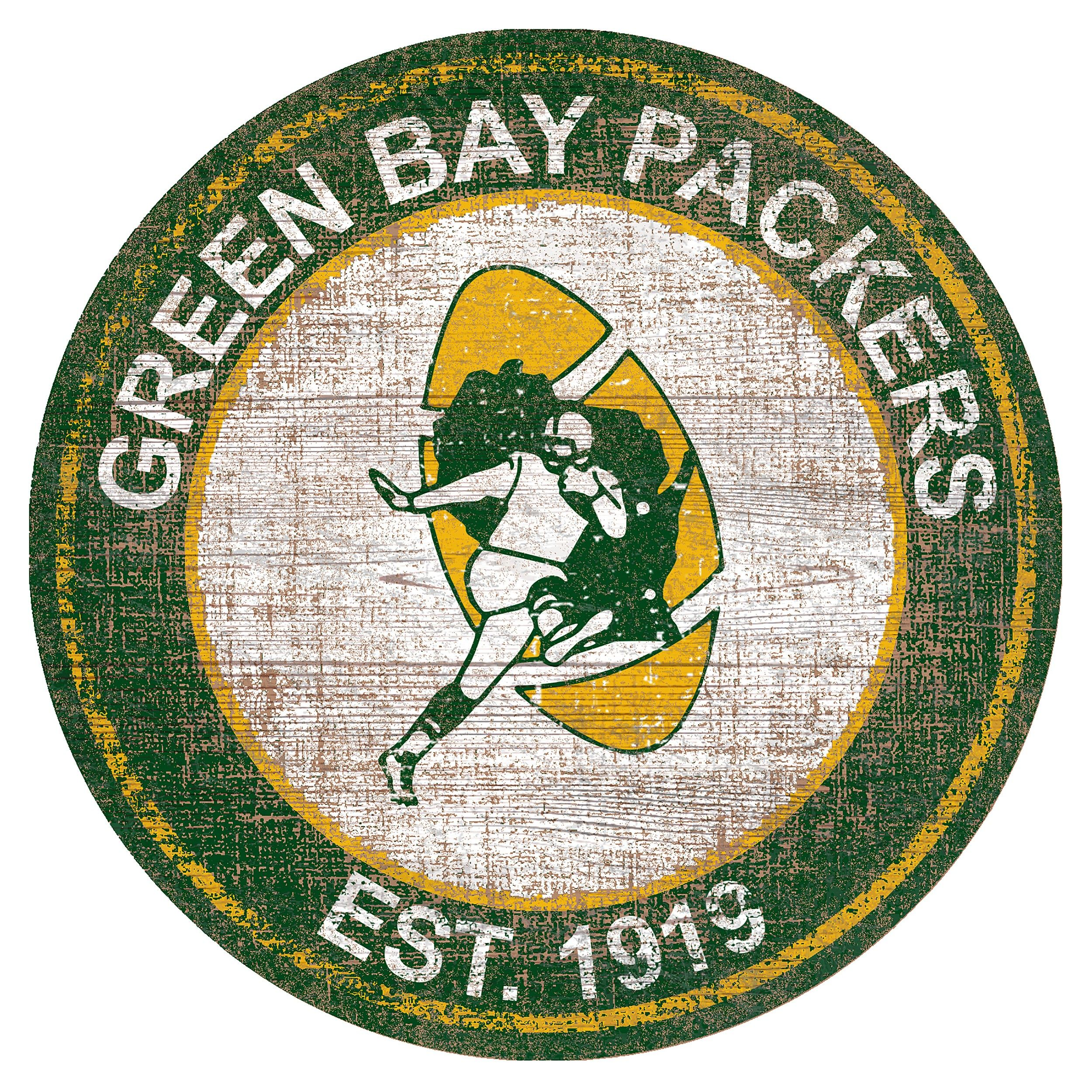 Packers Heritage Logo Round Wood Sign Green Bay Packers Green Bay Packers Fans Green Bay