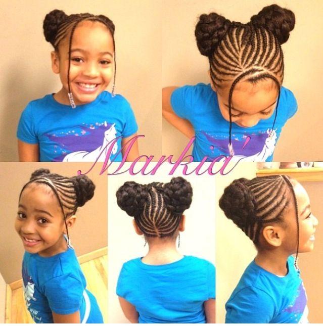 Style De Coiffure Avec Des Cheveux Naturels Tresses Collees Cornrows Et Des Cheveux Artificiels Les Deux Buns Hair Styles Kids Hairstyles Girl Hairstyles